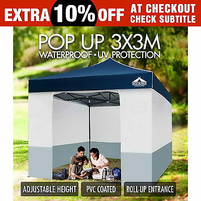 3x3 Folding Outdoor Gazebo Marquee Tent Canopy Pop Up Party Market Camping Navy
