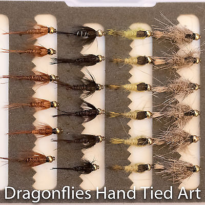 24 Gold Head  Hares Ear & Pheasant Tail Nymphs Trout Fishing Flies - Dragonflies