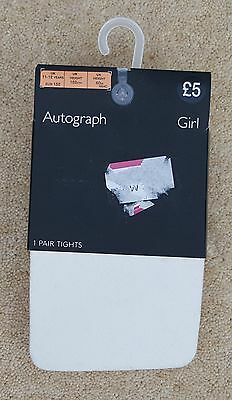 AUTOGRAPH Marks & Spencer White Patterned Girls Tights 11-12 Years