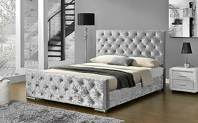 Luxury Silver Crushed Velvet Upholstered Fabric Bed Frame Double King Size