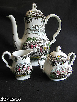 VINTAGE MYOTT 'COUNTRY LIFE-HUNT GATHERING' MULTI 3 PCE COFFEE SERVICE c.50s EX