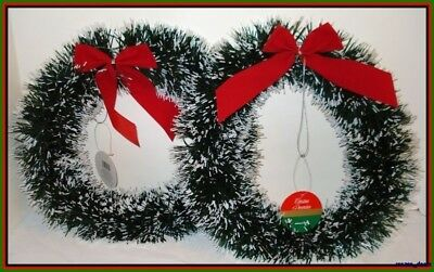 "Lot Of 2 Christmas Decoration Pine Garland Wreath 10"" W/Red Bow Door Or Window"