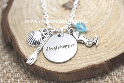 THE LITTLE MERMAID Dinglehopper FORK CHARMS PENDANT NECKLACE SEASHELL Silver