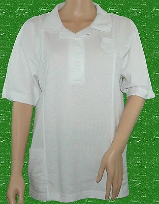 BLUE REEF Ladies Sally Bowling Blouse White Aussie Style Poly Cotton UK 22