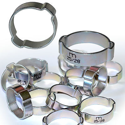 Lot de 10 Cable or hose clamps à 2 ears ø 25/28 mm clamp tube of 26/27mm ext