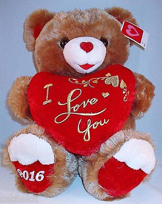 Anniversary Special Occasion Dated 2016 Cute Brown Love You Teddy Bear Red Heart