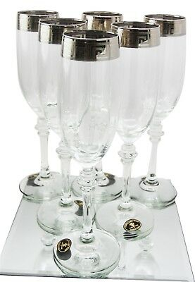 """Italian Silver Accented Greek Key Versace 9"""" Champagne Flute Wine Glass Set of 6"""