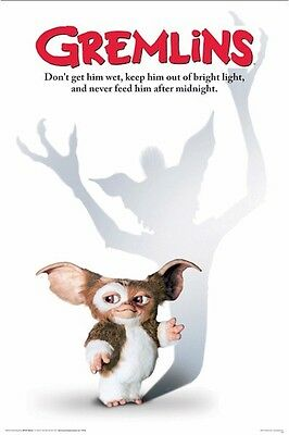 GREMLINS MOVIE POSTER ~ GIZMO MOGWAI 24x36 Don't Get Him Wet Feed After Midnight