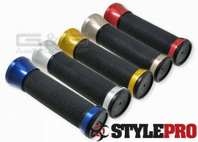 Handlebar Grips CNC Alloy IN RED UNIVERSAL SCOOTER QUAD ATV Motorcycle