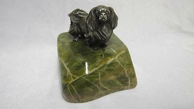 S Mordan? Antique Solid Sterling Silver Pekingese Onyx Paperweight Chester 1923