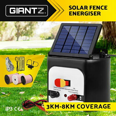 Giantz 3/5/8/15km Solar Fence Energiser Energizer Power Charger Poly tape Wire