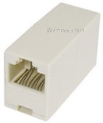 RJ11 ADSL Broadband Cable Inline Joiner Coupler Female ADAPTER GOLD PINS