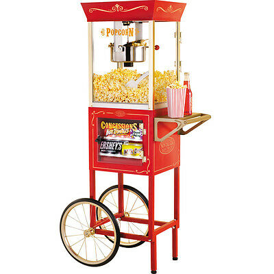 Popcorn Machine w/ Theater Style Concession Cart ~ Popper + Stand Pop Corn Maker