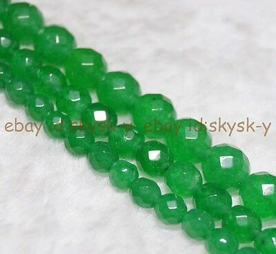 """Wholesale Natural Green Emerald Faceted Round Loose Beads Gemstone 15"""" 6/8/10mm"""