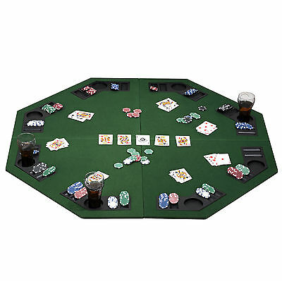 "1.2m/48"" Large Foldable 8 Player Poker Table Top with Chip Trays & Drink Holders"