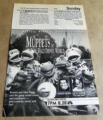 1990 The Muppets at Walt Disney World Promo Ad Clipping Charles Grodin