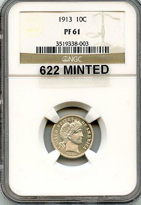 C7258- 1913 Proof Barber Dime Ngc Pf61 - 622 Minted