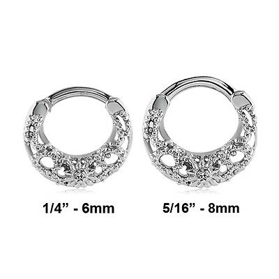 316L Surgical Steel Septum Clicker Hinged Nose Ring Hoop Clear CZ 16G