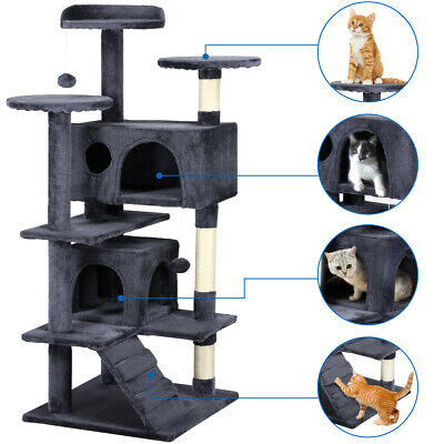 "51"" Cat Tree Tower Condo Furniture Scratching Post Pet Kitty Play House 4 Colors"