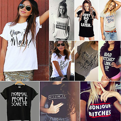 Women's Summer Tops Short Sleeve Graphic Tee Blouse Casual Letter Print T-shirt