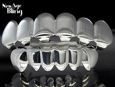 Top Bottom Grill Set Silver Plated Custom Grillz w/Molds Teeth Hip Hop Mouth
