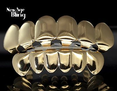 Top Bottom Grill Set 14Kt Gold Plated Custom Grillz w/Molds Teeth Hip Hop Mouth