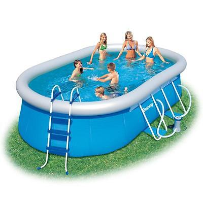 """Bestway Fast Set Oval 16ft x 10ft x 42"""" Swimming Pool with Pump & Filter BW56269"""