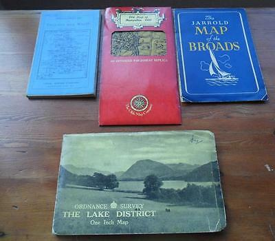 4 vintage maps O.S. Lake District, Jarrolds Broads, Bartholomews, Hampshire 1610