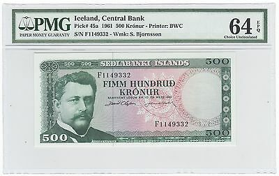 1961 Iceland 500 Kronur Bank Note Bill Pick# 45a - PMG Choice UNC 64 EPQ