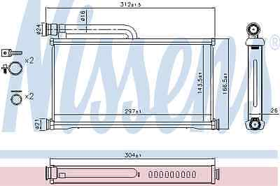 Nissens Heat Exchanger 70233 Fit with Audi A6