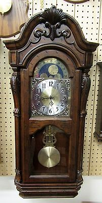 "Bulova Triple Chime Wall Clock  Highly Carved Distressed Wood ""tamlen"" C1515"