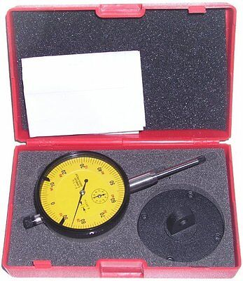 "NEW 6 Jeweled Shock Proof Dial Indicator 0-1"" x 0.001"" Flat-Back & Lug-Back Incl"