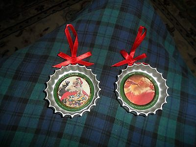 Vintage 1991 Coca Cola Antique Bottle Cap Christmas Ornament Lot Of 2 Unique A