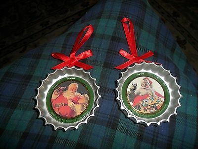 Vintage 1991 Coca Cola Antique Bottle Cap Christmas Ornament Lot Of 2 Unique B