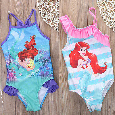 Girls Kids Princess Little Mermaid 2-7Y Swimwear Swimsuit Bikini Bathing Tankini
