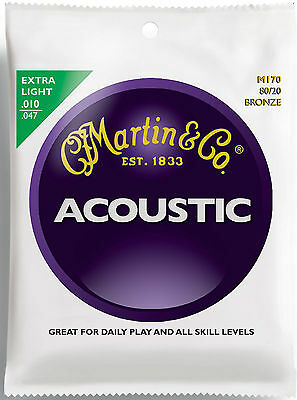 Martin M170 Extra Light 80/20 Bronze Acoustic Guitar Strings 10-47 Set of 6