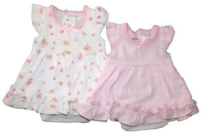 Baby Girls Summer Dress With Built In Bodysuit Set Two Styles Floral Or Stripes