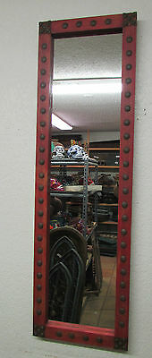 Red Tall Medallion Mirror-Wood-Mexican-15x50-Rustic-Western-Clavos-Spanish-Hall