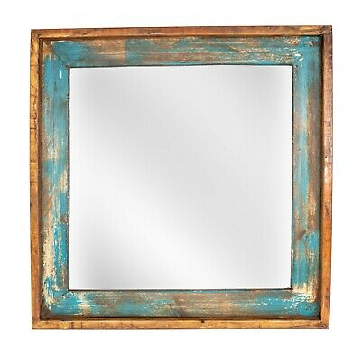 Ranch House Mirror-Turquoise-Mexican-31x31-Primitive-Western-Wood-Large-Vanity