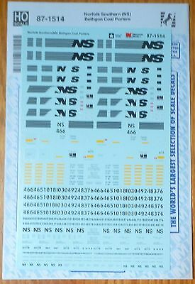 Microscale Decal HO #87-1514 Norfolk Southern (NS) Bethgon Coal Porters (Decals)