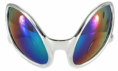 Close Encounter Alien Costume Glasses Sunglasses Silver UFO Mirrored Rainbow Bug