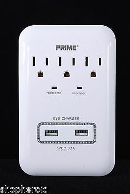 Prime Surge Protector Universal USB Port AC Adapter Electrical Outlet Plug