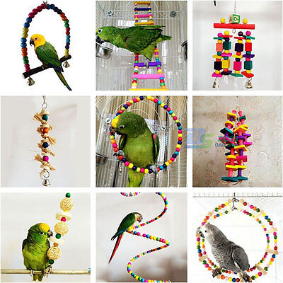 Pet Bird Chew Cages Hang Toys Wood Ladder Bells Bite Toys for Parrot Cockatiel