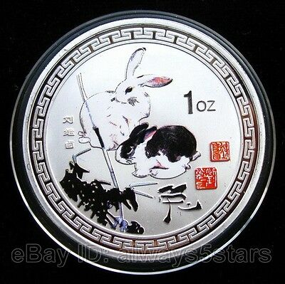 Chinese Famous Artists Painting Zodiac Rabbit Colored Silver Coin Token