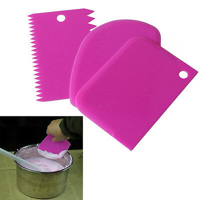 3 in 1 Cake Plain Edge Side Scraper Plastic Cutter Butter Cream Smoother Tools