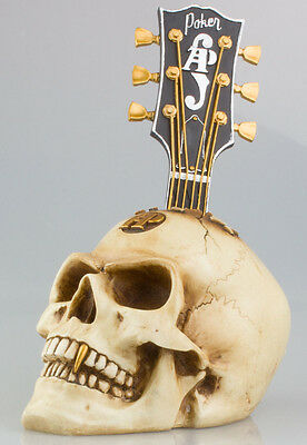 Vintage Skull Ornament Retro Head Sculpture Bone Effect Resin With Guitar Neck