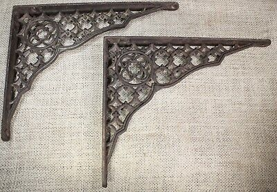 "2 Shelf brackets 7 X 9"" vintage old 1880's rustic gothic lattice primitive iron"