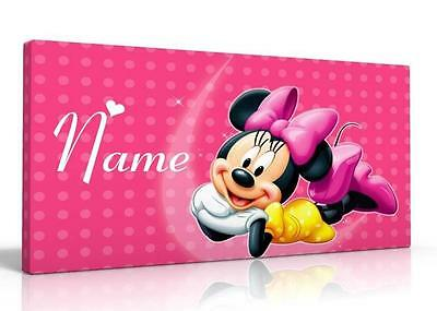 Single Canvas Picture Wall Art Personalised Pink Minnie Mouse New