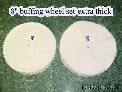 Buffing wheel set 8 inch extra thick 120 ply metal Polishing Aluminum Stainless