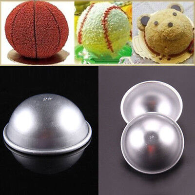 2pcs Ball Stainless Steel Sphere Bath Bomb Cake Pan Baking Mold Pastry Moulds FS